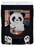 Button And The Panda Bear Duvet Cover