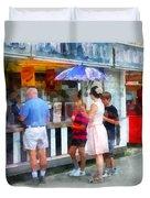 Buying Ice Cream At The Fair Duvet Cover