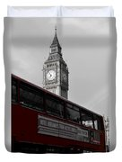 Bw Big Ben And Red London Bus Duvet Cover