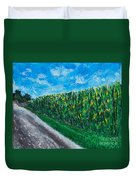 By An Indiana Cornfield The Road Home Duvet Cover