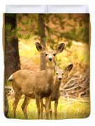 By Mama's Side - Photo Manipulation - Mule Deer - Casper Mountain - Casper Wyoming Duvet Cover