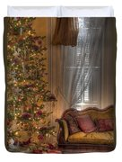 By The Christmas Tree Duvet Cover