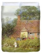 By The Cottage Gate Wc On Paper Duvet Cover