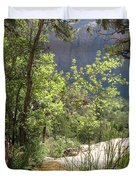 By The Emerald Pools - Zion Np Duvet Cover