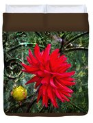By The Garden Gate - Red Dahlia Duvet Cover