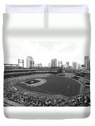 By The Right Field Foul Pole Bw Duvet Cover