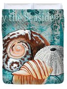 By The Seaside Original Coastal Painting Colorful Urchin And Seashell Art By Megan Duncanson Duvet Cover
