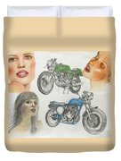 Bykes And Byrds 1 Duvet Cover