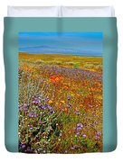 Ca Poppies And Goldfields And Lacy Phacelia And Sage In Antelope Valley Ca Poppy Reserve-california Duvet Cover