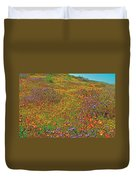 Ca Poppies And Goldfields And Lacy Phacelia In  Antelope Valley Ca Poppy Reserve-california  Duvet Cover
