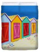 Cabana Row - Colorful Beach Cabanas Duvet Cover