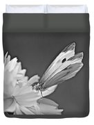Cabbage White Butterfly On Cosmos - Black And White Duvet Cover