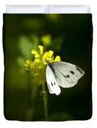 Cabbage White Butterfly On Yellow Flower Duvet Cover