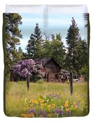 Cabin And Wildflowers Duvet Cover