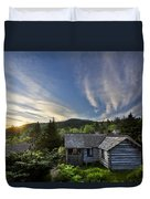 Cabins At Dawn Duvet Cover by Debra and Dave Vanderlaan
