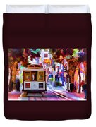 Cable Car At The Powell Street Turnaround Duvet Cover