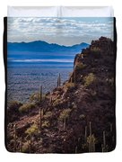 Cacti Covered Rock At Tucson Mountains Duvet Cover