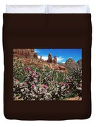 Cactus Flowers And Red Rocks Duvet Cover