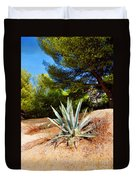 Cactus On A Rocky Coast Of French Riviera Duvet Cover