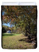 Cades Cove House And Fall Colors Duvet Cover