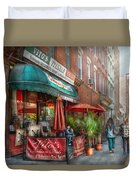 Cafe - Hoboken Nj - Vito's Italian Deli  Duvet Cover by Mike Savad
