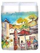 Cafe In Barca De Alva Duvet Cover