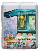 Cafe In Montmartre Duvet Cover
