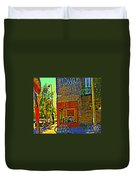 Cafe Window Corner Rue Fabre Near The Bicycle Stand Art Of Montreal Summer Street Scene  Duvet Cover