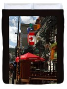 Cafes And Bars Along Crescent Street Duvet Cover