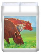 Calf And Cows Painting Duvet Cover