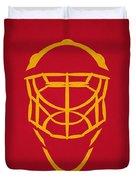 Calgary Flames Goalie Mask Duvet Cover
