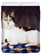 Calico Cat Portrait Duvet Cover