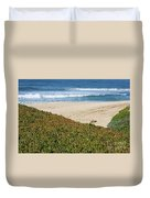 California Beach With Ice Plant Duvet Cover by Carol Groenen