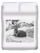 California Ground Squirrel In Black And White Duvet Cover