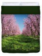 California Peach Tree Orchard  Duvet Cover