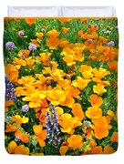 California Poppies And Betham Lupines Southern California Duvet Cover