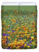 California Poppies And Desert Blubells Duvet Cover