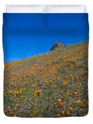 California Poppies Baby Blue Eyes And Owl Clover Duvet Cover