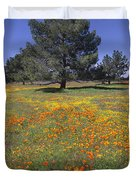 California Poppy And Eriophyllum Duvet Cover