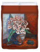 Calla Lilies And Frog Duvet Cover