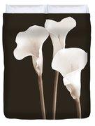 Calla Lilies In Triplicate In Sepia Duvet Cover