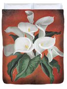 Calla Lilies On A Red Background Duvet Cover