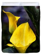 Calla Lily Portrait In Yellow And Green Duvet Cover