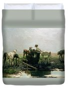 Calves At A Pond, 1863 Duvet Cover