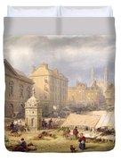 Cambridge Market Place, 1841 Duvet Cover