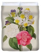 Camellias Narcissus And Pansies Duvet Cover by Pierre Joseph Redoute