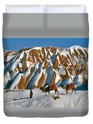 Camels On The Snow Duvet Cover