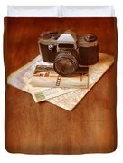 Camera Map And Postcards Duvet Cover