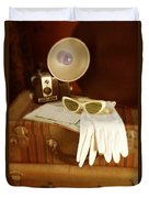 Camera Sunglasses On Luggage Duvet Cover