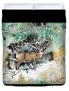 Camouflaged Mule Deer Buck In Winter Duvet Cover